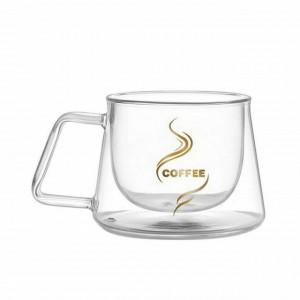 Cana cu pereti dubli Pufo pentru bauturi fierbinti, cafea sau ceai, transparent, 200 ml