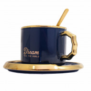 Cana din ceramica si lingurita Pufo Luxury pentru cafea sau ceai, 230 ml, albastru