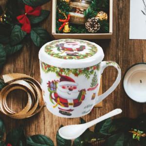 Cana pentru cafea sau ceai cu lingurita, model de sarbatori, Pufo