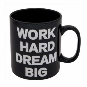 Cana uriasa ceramica Work Hard & Dream Big, 815 ml, Pufo