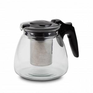 Ceainic din sticla Pufo cu filtru metalic, 900 ml, transparent