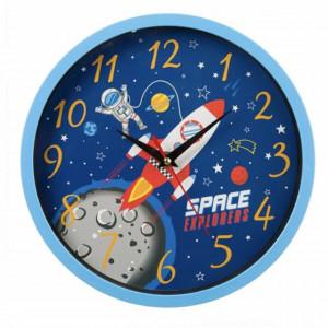 Ceas de perete pentru copii, model Astronautul in spatiu, 25 cm, Pufo, albastru