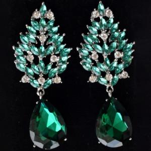 Cercei eleganti de dama, lungi in forma de spic, verzi