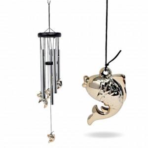 Clopotel de vant cu 5 tuburi sonore metalice pentru casa sau gradina, model clasic cu pestisor