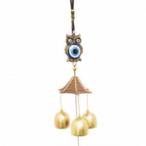 Clopotel de vant cu floare de campanula si 3 clopotei pentru casa sau gradina, model cu bufnita