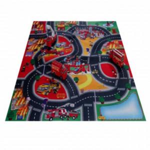 Covoras de joaca pentru camera copilului cu 3 vehicule de pompieri, 80 cm