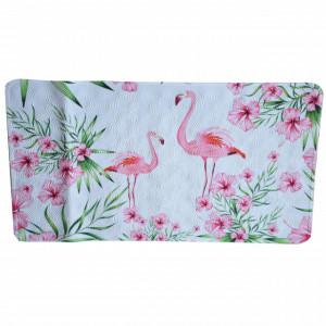 Covoras pentru baie antiderapant Pufo Flamingo cu ventuze, 38 x 70 cm