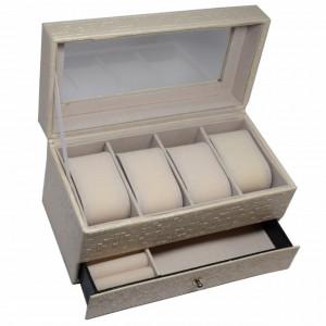 Cutie caseta de dama pentru depozitare si organizare 4 ceasuri, model etajat cu sertar pentru bijuterii, crem