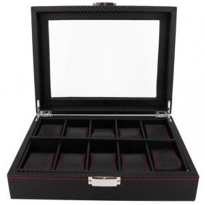 Cutie caseta pentru depozitare si organizare 10 ceasuri, model Pufo Glossy Royal