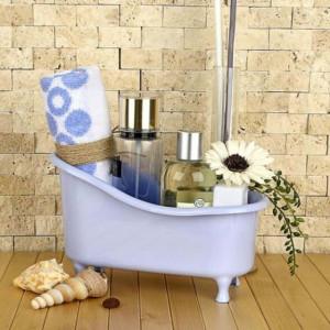 Organizator in forma de cada pentru produse cosmetice, sapunuri sau prosoape mici, alb, Pufo