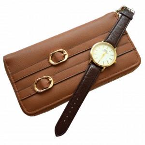 Pachet portofel elegant de dama cu fermoar, maro + ceas elegant de dama slim, model clasic, curea maro