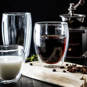 Pahar cu pereti dubli Pufo pentru bauturi fierbinti, cafea, ceai, 300 ml, transparent