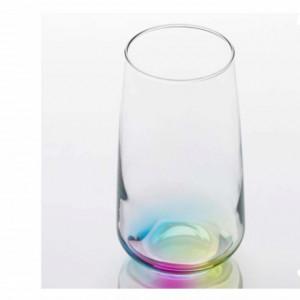 Pahar inalt pentru apa, suc, racoritoare cu fund curcubeu, sticla, 470 ml, Pufo
