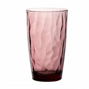 Pahar inalt Pufo Royal Pink pentru apa, suc, racoritoare, din sticla, 470 ml