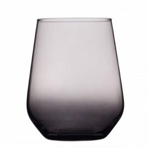 Pahar Pufo Elegant Black pentru apa, suc, racoritoare, din sticla, 425 ml, negru