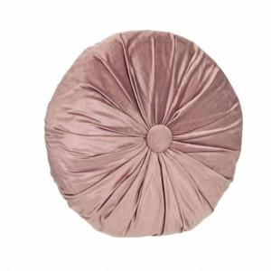 Perna decorativa rotunda Pufo din catifea cu buton, model Cuteness velvet, pentru canapea, pat, fotoliu