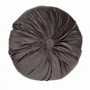 Perna decorativa rotunda Pufo din catifea cu buton, model Deluxe velvet, pentru canapea, pat, fotoliu, gri