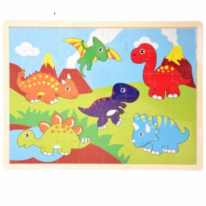 Puzzle Pufo din lemn pentru copii, 24 piese, 40 x 30 cm, model Happy Dino