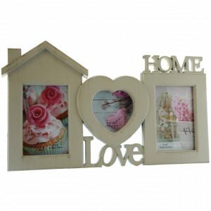 Rama foto decorativa cu 3 poze, model Love Home, 41 x 25 cm