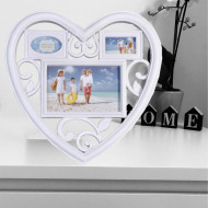 Rama foto decorativa cu 3 poze, model Pufo Heart, 28 x 28 cm, alba