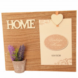 Rama foto din lemn, model cu lavanda si mesaj Home, 24 cm