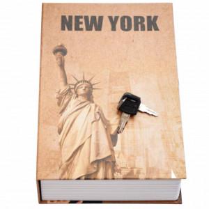 Seif secret tip carte cu 2 chei pentru blocare, model New York, 24 x 16 cm