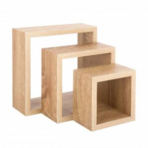 Set 3 rafturi Pufo Brown pentru perete din lemn, cu sistem de prindere, maro