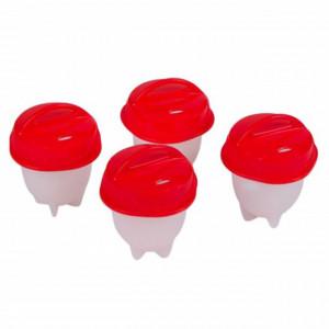 Set 4 recipiente din silicon cu capace pentru oua posate, Pufo