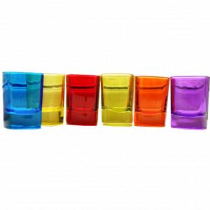 Set 6 pahare colorate din sticla pentru shoturi, 55 ml