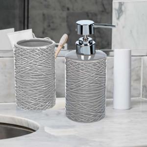 Set dispenser sapun lichid si suport periuta de dinti din ceramica, 2 piese, Pufo, gri