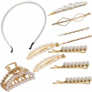 Set elegant de 11 accesorii pentru par, cordeluta si agrafe cu margele albe, Pufo