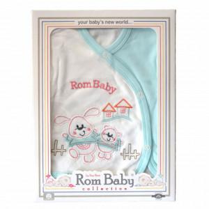 Set nou nascuti 0-3 luni 100% bumbac din 5 piese: pantaloni cu botosel, bluzita cu capse, bavetica, caciulita, manusi, model alb/turcoaz cu iepurasul prietenos