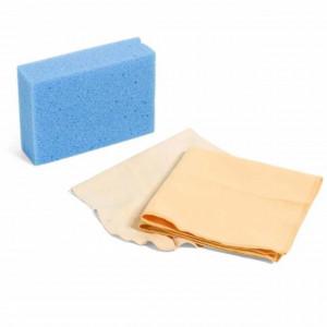 Set pentru curatare auto din laveta piele de caprioara, laveta microfibra si burete