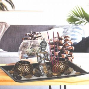 Set suport Pufo pentru bete parfumate si lumanare cu statueta Buddha, 29 x 15 cm