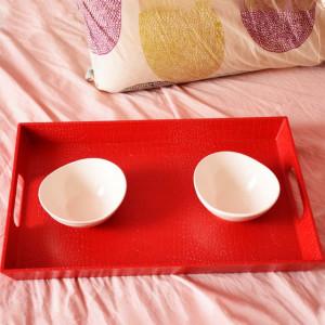 Set tava rosie pentru servire cu doua boluri albe incluse