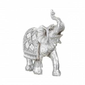 Statueta decorativa Pufo Silver Elefant, 13 cm, argintiu