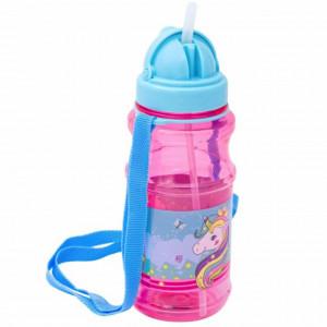 Sticla apa pentru copii, cu pai si capac, model Unicorn, 500 ml