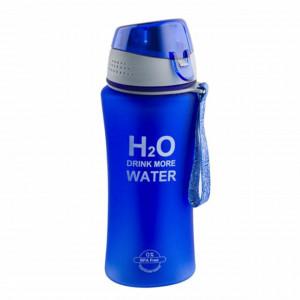 Sticla sport pentru apa Pufo, model Drink More Water, cu suport pentru gheata, 480 ml, albastru