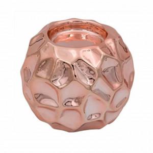 Suport decorativ elegant din portelan pentru lumanare Pufo Pink, 8,5 cm