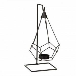 Suport decorativ metalic pentru lumanare Pufo Diamond cu agatatoare, 24 cm