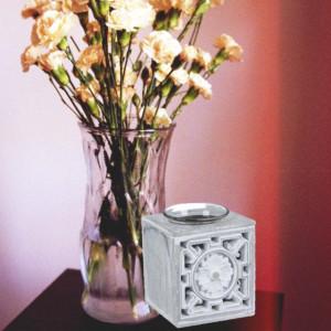 Suport decorativ pentru lumanare Pufo Vintage, gri, 9 cm