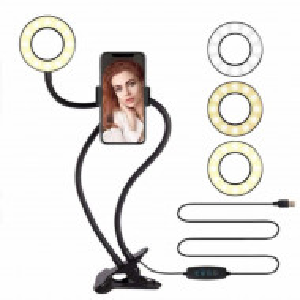 Suport flexibil universal Pufo pentru telefon cu lumina LED, fixare cu clema, negru