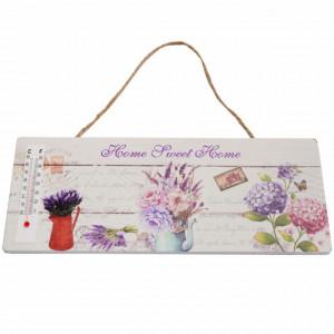 Tablita decorativa din lemn cu termometru incorporat, model Home Sweet Home, 25 cm