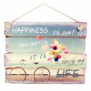 Tablou decorativ Pufo cu mesaj motivational Happiness, 40 x 30 cm