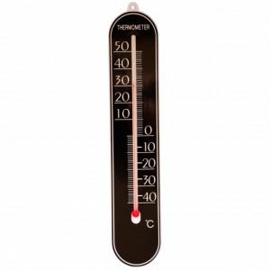Termometru de perete Pufo Simple pentru interior/ exterior, 25 x 5 cm, negru