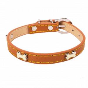 Zgarda reglabila maro pentru caini cu model oase, 35 cm, Pufo