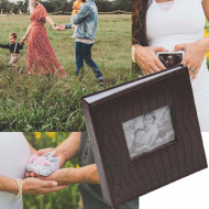 Album foto Pufo, 200 poze, design tip piele de crocodil, 22 x 22 cm, coperta maro