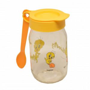 Borcan cu lingurita si capac Tweety pentru depozitare, servirea mesei la copii, 13 cm