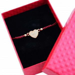 Bratara eleganta ajustabila cu snur si pandantiv in forma de inima cu pietricele albe, Heart Gold, in cutie cadou