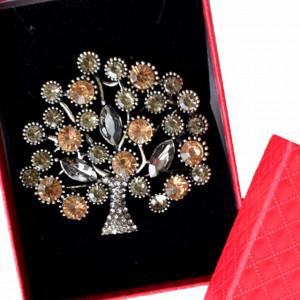 Brosa dama eleganta Copacul vietii, cu cristale colorate